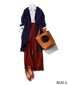 ワイドパンツ×ロングカーデのコーディネートは、縦感を強調し痩せ見えが叶う嬉しい組み合わせ。カラーアイテムを組み合わせれば、今季らしさも上がります。きちんと感が欲しい通勤時は、インに白シャツを合わせてクリーンなムードをプラス。足もとやバッグは、キャラメルカラーでまとめて大人の落ち着・・・ Casual Hijab Outfit, Casual Work Outfits, Mode Outfits, Classy Outfits, Fashion Outfits, Womens Fashion, Japan Fashion, Look Fashion, Daily Fashion