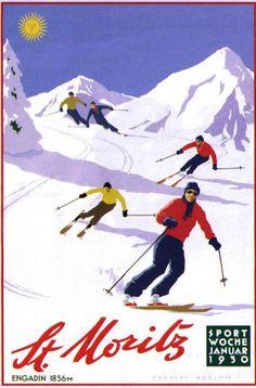 'St Moritz: Downhill Skiers' - by Charles Avalon - Vintage travel posters - Winter Sports posters - Art Deco - Pullman Editions Ski Vintage, Vintage Ski Posters, Vintage Winter, Vintage Movies, Illustrations Vintage, Illustrations And Posters, Illustration Art, Theme Sport, Stations De Ski