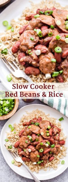 Slow Cooker Red Beans and Rice is one of the most comforting, affordable and easy to make meals! Perfect for Mardi Gras or anytime you're craving spicy, hearty Cajun food! #redbeansandrice #slowcooker #mardigras #cajunfood #dinner #glutenfree #kidneybeans