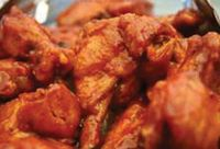 Hot buffalo wings at TJ's Pizza in Denton