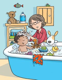 Sue King Illustration - sue king, digital, commercial, sweet, young, educational, novelty, activity, children, toddlers, boys, baths, bathtime bath time, bathroom, people, grandparents, grandmother, gran, grandma, grannie