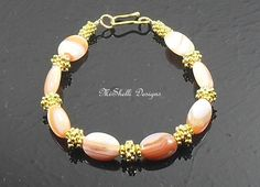 Peaches and Cream - Orange Sardonyx Vermeil Bracelet