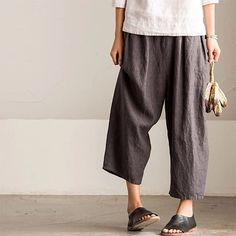 K8086A vintage casual loose linen pants women's trousers www.fantasylinen.comfantasylinen