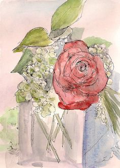 Original fine art matted watercolor painting of by amostroutstudio, $50.00