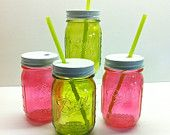 Four Food and Dishwasher Safe Hand Painted Mason Jar Glasses With Lids #EasyPin
