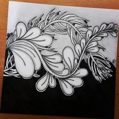 Zentangle ** The idea is refered to the artwork from creation_unplugged/Deb Thompson. Zentangle Drawings, Doodles Zentangles, Doodle Drawings, Doodle Art, Zantangle Art, Zen Art, Doodle Patterns, Zentangle Patterns, Tattoo Painting