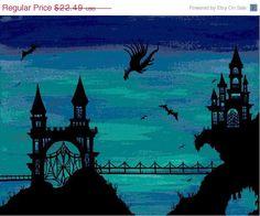 Modern Cross Stitch Sale Cross Stitch Pattern  PDF - Castle Dragon Modern Fantasy Cross Stitch Chart. $11.25, via Etsy.