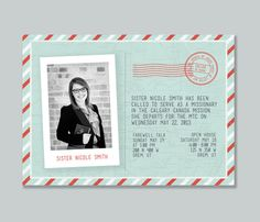 LDS Missionary 5x7 Announcement Card and Invitation via Etsy