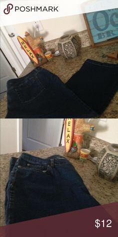 🎉SALE🎉5 pocket Jean Capri's Metro style Stretch jean capris. In great shape size 18, dark blue jean Capri's Metro style Jeans