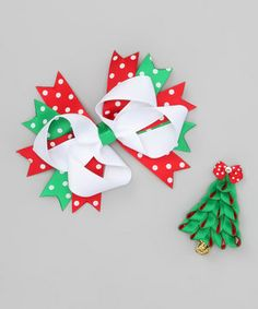 Adding a fun, festive touch to any outfit is easy with this cheery set. These pieces are handmade from quality grosgrain ribbon that's been sealed to prevent fraying. They make a perfectly unique gift for any special sweetie. #christmas