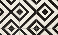 Sol vinyle BUBBLEGUM, carreau ciment motif géométrique noir, rouleau 4 m