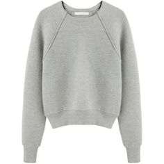 Alexander Wang Crop Neoprene Pullover (15.490 RUB) ❤ liked on Polyvore featuring tops, sweaters, jumpers, shirts, crewneck sweater, grey shirt, long sleeve shirts, gray long sleeve shirt and grey crew neck sweater