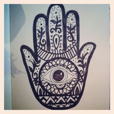 The Hamsa is an ancient Middle Eastern amulet symbolizing the Hand of God. In all faiths it is a protective sign. It brings it's owner happiness, luck, health, and good fortune. I really like this
