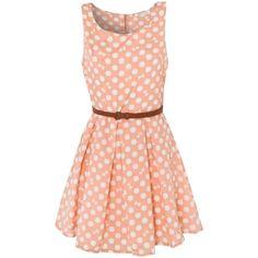 Glamorous Bow Polka Dot Skater Dress ❤ liked on Polyvore