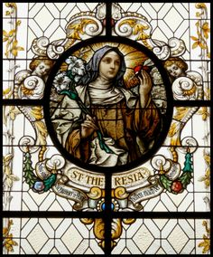 Teresa of Avila Stained Glass Church, Stained Glass Art, Stained Glass Windows, Catholic Art, Religious Art, Catholic Saints, Mosaic Art, Mosaic Glass, Sainte Therese
