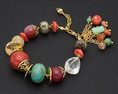 Coral Turquoise Bracelet Gold Beaded by KarolinaLauraDesign, $39.00