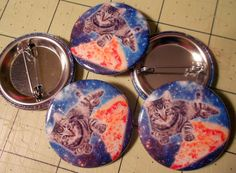 1.5 Button  Pizza Cat in Space by GodBlessGenerica on Etsy