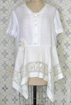 White Linen Tunic Dress Vintage Doily Lace Shabby by RevampReuse, $139.00