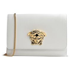Versace Clutch ($745) ❤ liked on Polyvore featuring bags, handbags, clutches, bolsas, white, white clutches, white handbags, white leather handbags, versace handbags and real leather purses