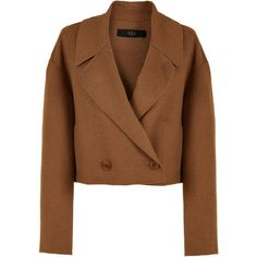 Tibi Reversible Double Faced Wool-Angora Cropped Jacket ($398) ❤ liked on Polyvore featuring outerwear, jackets, tibi jacket, woolen jacket, cropped jacket, brown wool jacket and tibi