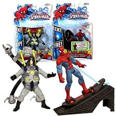 Hasbro Year 2012 Marvel Ultimate Spider-Man Power Webs Series 2 Pack 4 Inch Tall Action Figure - Flip Strike DOC OCK with Flipping Attack Plus Rocket Ramp SPIDER-MAN with Launching Hoverboard and Ramp by Hasbro