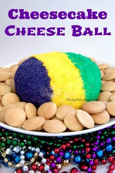 Cheesecake Cheese Ball is a great party treat. Everyone loves cheesecake add colored sugar & you can make it any color you want. Dip cookies, fruit & more!