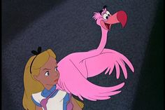 Cartoon Alice 1951   Alice and Pink Flamingo Alice in Wonderland 1951 disneyjuniorblog ...