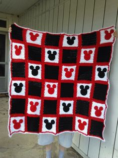 Mickey Mouse Inspired Crocheted Afghan Blanket by mishiwhite