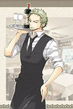 One Piece, Roronoa Zoro. Funny how there are any bottles on that tray with Zoro around :3