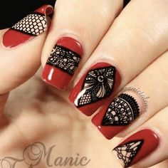 Red nails with stamp designs #rednails