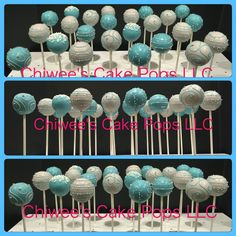 Classic blue & grey cake pops....perfect for baby shower!