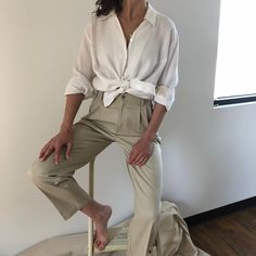 "Vintage stunning ivory linen button up blouse, s-l, $52 + shipping   Vintage favorite pleated khaki cotton trousers, 28"" waist, 12"" rise,…"