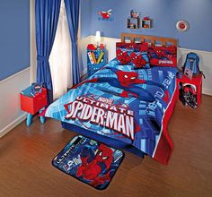 Spiderman Comforter Set Twin- $164.95 Fabric is 100% microfiber. Includes:  1 Double-sided Comforter 1 Bedskirt 1 Sham 1 Decorative Pillow 1 Flat Sheet 1 Fitted Sheet
