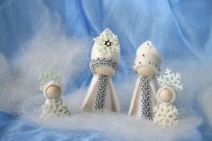 Winter Set King Winter,  snowflake / Flower dollWaldorf Inspired natural Table doll