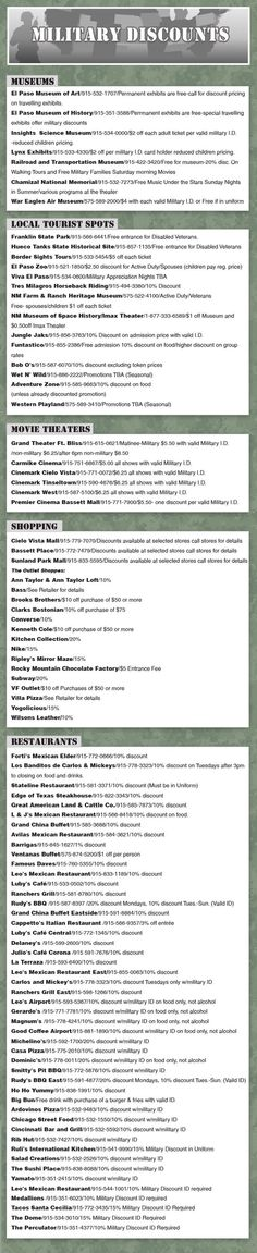 Military Discounts in el paso!  Museums, movie theatres, shopping AND restaurants