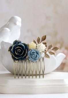 Wedding Hair Accessory Bridal Hair Comb Dark Blue Rose by LeChaim