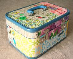 old train case great for keeping craft supplies