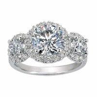Three Stone Diamond Halo Ring from Brilliant Earth Ethical Origin Fine Jewelry