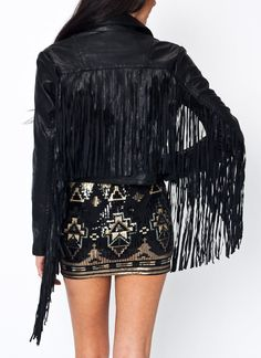 Faux Leather Fringe Jacket $82.65