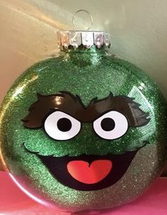 Custom Christmas ornaments inspired by Sesame Street characters Custom Christmas Ornaments, Clear Ornaments, Felt Christmas Decorations, Christmas Tree Ornaments, Christmas Holidays, Christmas Crafts, Glitter Ornaments, Painted Ornaments, Angel Ornaments