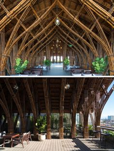 Vo Trong Nghia Architects have designed the renovation of a cafe, using bamboo as the material, to create a cave-like experience. Timber Architecture, Tropical Architecture, Amazing Architecture, Architecture Details, Bamboo Structure, Concrete Structure, Bamboo House Design, Bamboo Building, Bamboo Construction