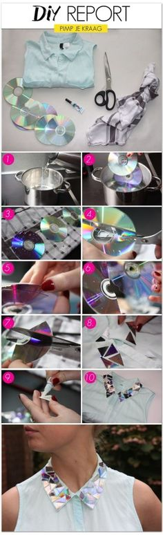#DIY Bejeweled Collar using recycled CDs and a plain white shirt. Love this!
