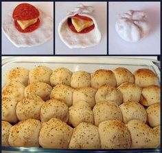 Easy Pepperoni Rolls Ingredients: 3 cans Pillsbury Buttermilk Biscuits biscuits per can) 56 pepperoni slices Block of cheese (I use Colby & Monterey Jack) 1 beaten egg Parmesan Italian seasoning Garlic powder 1 jar pizza sauce great after school snack! Think Food, I Love Food, Good Food, Yummy Food, Yummy Snacks, Easy Pepperoni Rolls, Pepperoni Slices, Turkey Pepperoni, Appetizer Recipes