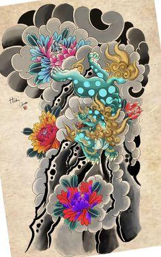 Fu Dog, Irezumi, Oriental, Waves, Tattoos, Artwork, Japanese Sleeve, Tatuajes, Work Of Art