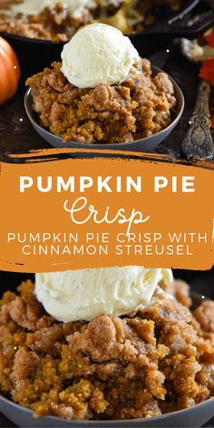 This easy Pumpkin Pie Crisp is made with a creamy pumpkin pie filling and a crunchy golden cinnamon streusel topping! Serve it warm with ice cream! #PumpkinPieCrisp #PumpkinCrisp #Pumpkin #PumpkinRecipes #PumpkinCobbler #PumpkinDesserts #FallRecipes #FallDesserts #Cobbler Delicious Desserts, Yummy Food, Healthy Pumpkin Desserts, Recipes With Pumpkin, Healthy Fall Recipes, Pumpkin Deserts, Dessert Healthy, Baking Recipes, Dessert Recipes