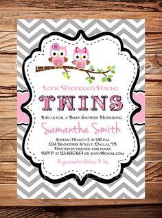 Owl Baby Shower Invitation, Twins Baby Shower Invite, Twins, Girl, Pink, Chevron Stripes, Black, Gray, Twins, Owls Baby Shower Invitation