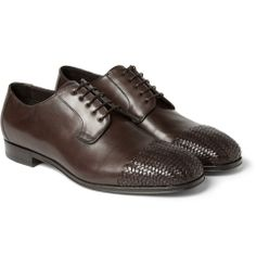 Brioni - Woven-Panel Leather Derby Shoes MR PORTER