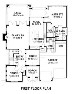 Upstairs: 2 bed, 1 bath, future media room. Big advantage of this plan is that you only need one gate to block kids + pets from the stairs, front entry, study, + formal dining (where you can store breakables.) Use the nook for a supervised play area. Plan 120-166 Houseplans.com