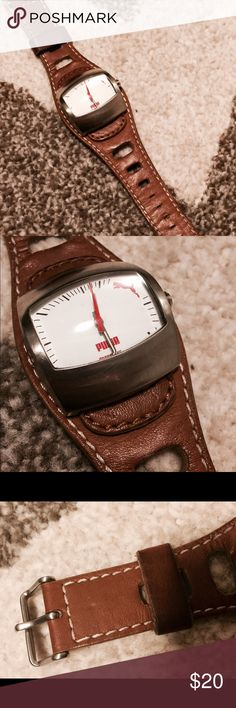 c75d1414427e01 PUMA Watch Brown Leather Band Leather band puma watch. Great condition