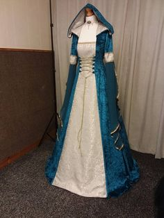 Medieval renaissance clothing, Celtic wedding dress, fae dress, woodland dress, elven dress, wedding dress, teal dress, hooded dress